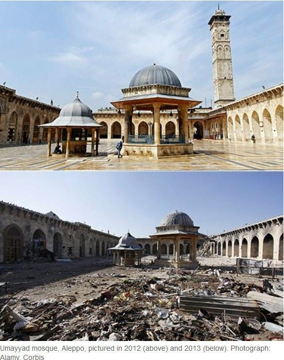 Before and after pictures show the devastation wreaked by three-year war in Syria.