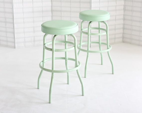 RESERVED for CW: Vintage Diner Stools, Mint, Set of Two