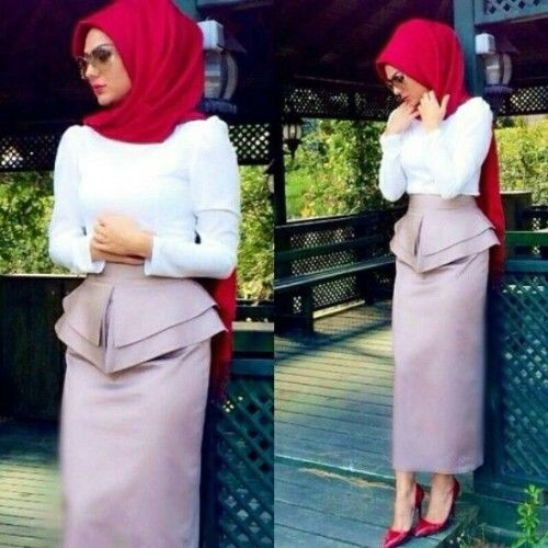 pencil skirt hijab look