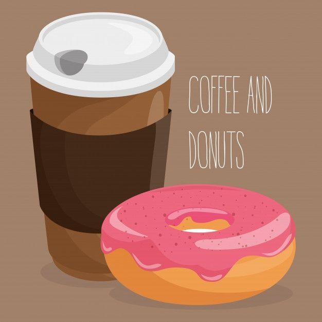 おいしいコーヒープラスチックポットとドーナツのイラストを無料でダウンロード 2020 ドーナツ コーヒー プラスチック