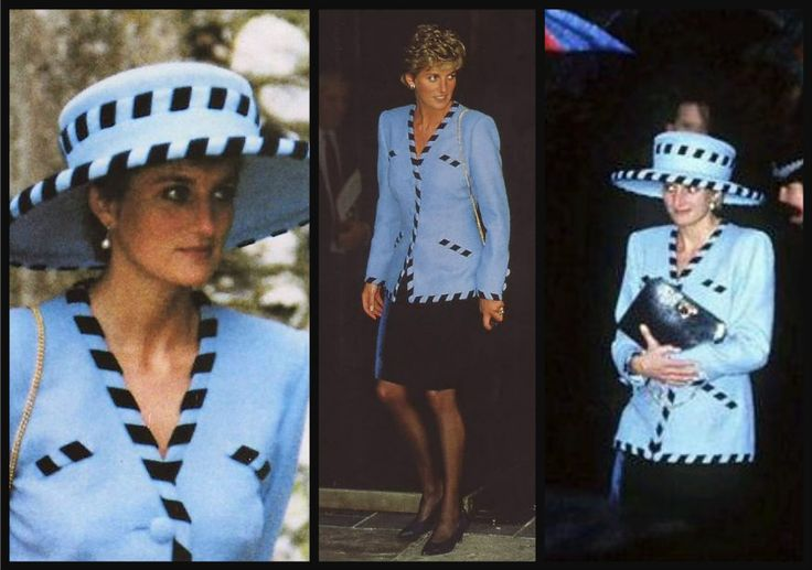 Princess Diana, wearing a Catherine Walker suit and Philip Somerville hat, attends the wedding of Harry Herbert, December 19, 1992.