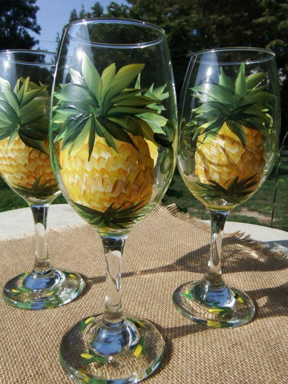 Pineapple glasses Hand painted pineapple wine by 800ChestnutStreet