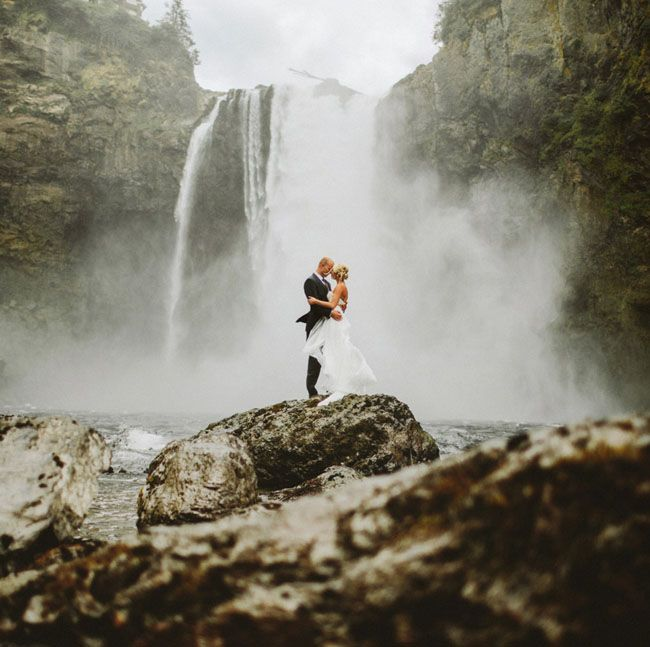 Snoqualmie Falls elopement shot by Benj Haisch.