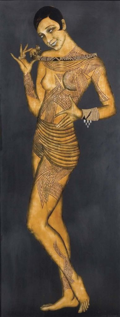 Jean Dunand (1877-1942, French) & Jean Lambert-Rucki (1888-1967, Polish French), 1926, Josephine Baker, Lacquer on wood panel, France.