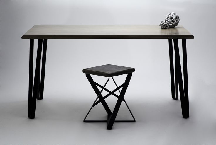 Stella Table with Lofty Short Stool, and a bit of origami. Solid Drifted Eastern Maple + Black Matte Mild Steel.