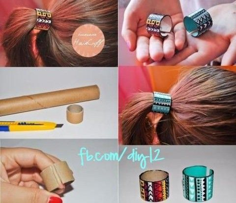 Super Easy Pony Tail Accessory – DIY . could even spray with gold paint?