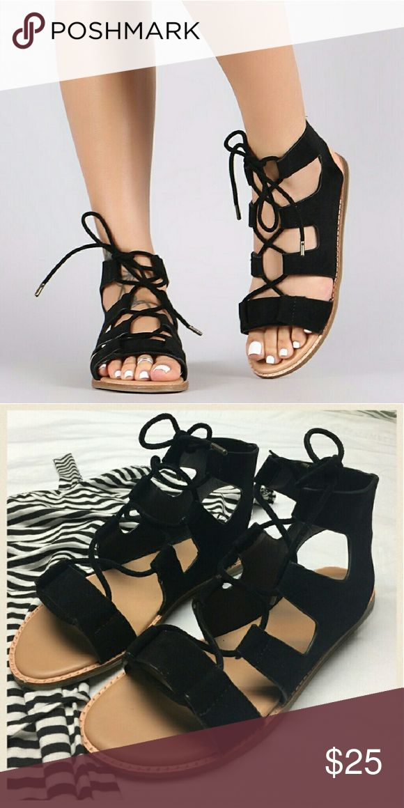 Black tie up sandals New with tags Super cute black strappy tie up sandals No trades  Most offers will be considered  Happy poshing!   Remember, bundle and save!  Free gift with the purchase of two or more items from my closet. Shoes Sandals