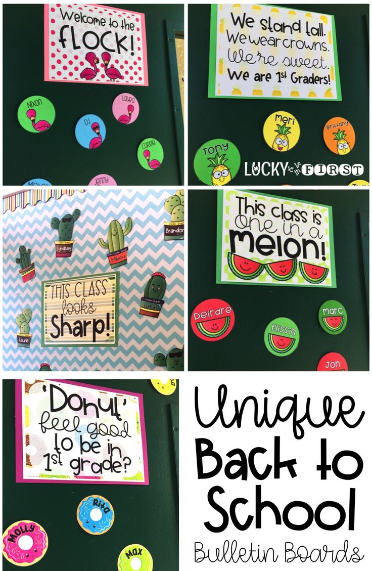 Welcome your class Back to School with these fun Back to School Bulletin Boards!  via @mbuckets