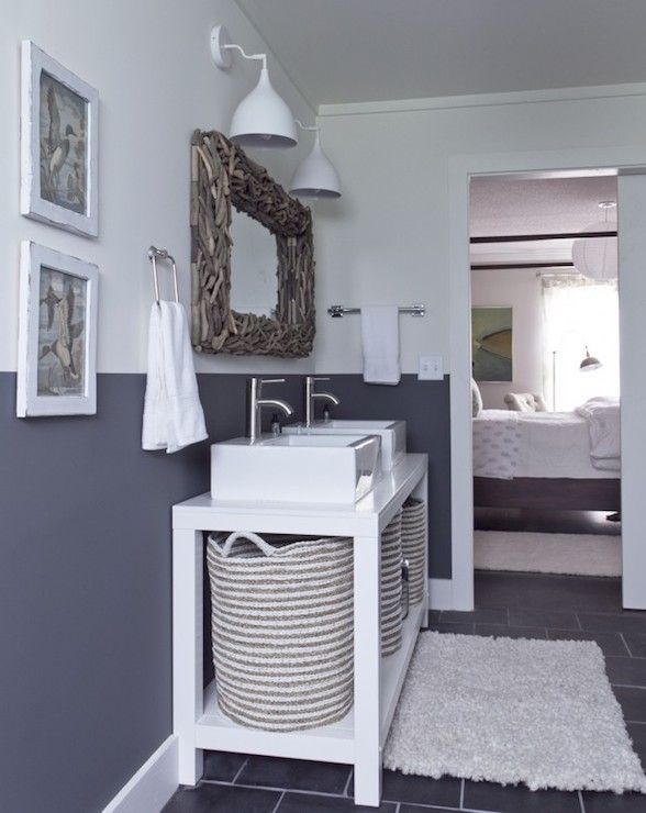 Milk and Honey Home - bathrooms - Benjamin Moore - Downpipe - gray and white bathroom walls, gray and white bathroom, two tone walls