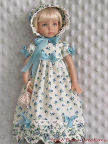 """13""""Effner-Little-Darling-BJD-fashion-blue-bows-Regency-OOAK-handmade-by-JEC"""