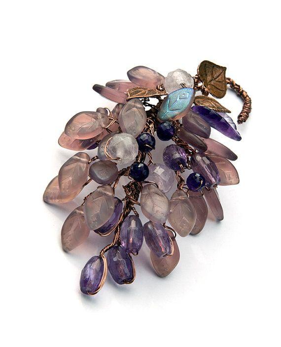Purple Amethyst Gemstone Brooch Copper by CherylParrottJewelry