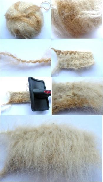"previous pinner wrote:""Brushed Crochet    What you need:    A good quality pet slicker brush – That's it!  Wools for Brushing    Anything – I have had success with every wool that I have tried. Bamboo is beautiful for short fur. Make a test swatch and see!!  Top Tips  Patons_spirit"""