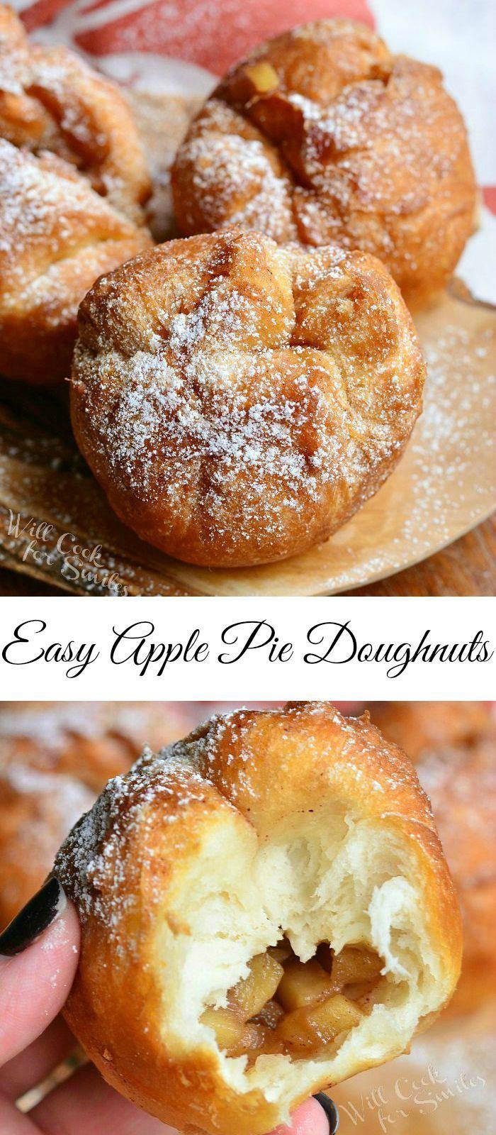 Easy Apple Pie Doughnuts | from willcookforsmiles... #breakfast #dessert #apple