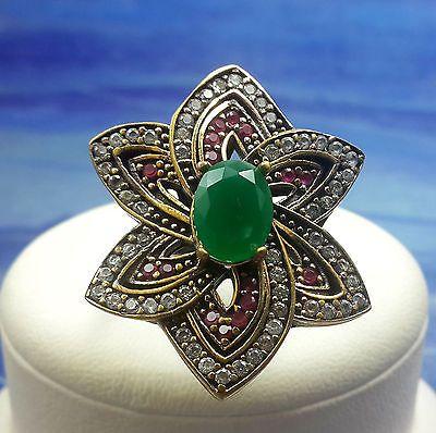 CALENDULA! Turkish Emerald Topaz Stone 925K Sterling Silver Handmade Ring Size 7