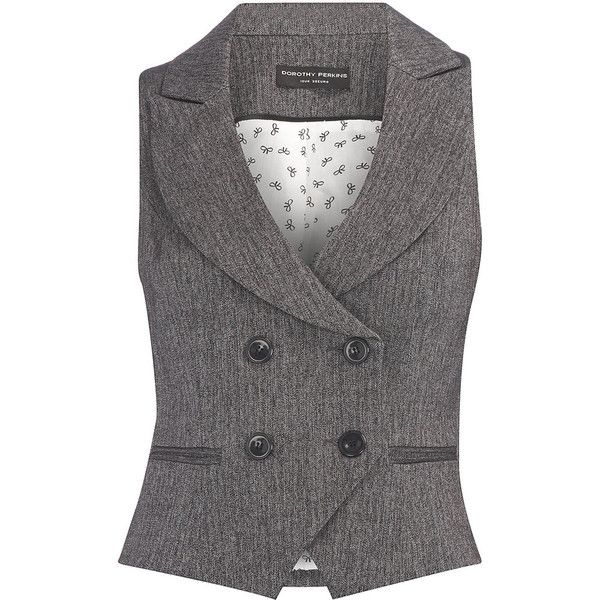 Grey piped button waistcoat (3.200 RUB) ❤ liked on Polyvore featuring outerwear, vests, tops, jackets, fashion tops, women's tops, gray vest, double breasted vest, dorothy perkins and waistcoat vest