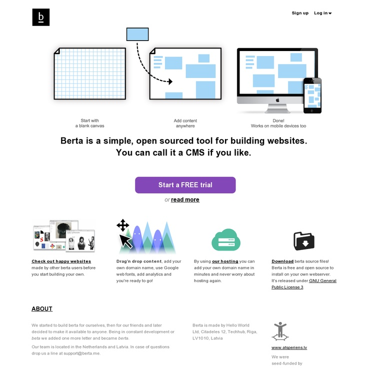 Berta is is a website building tool with little structure and a drag-and-drop interface - http://www.berta.me/