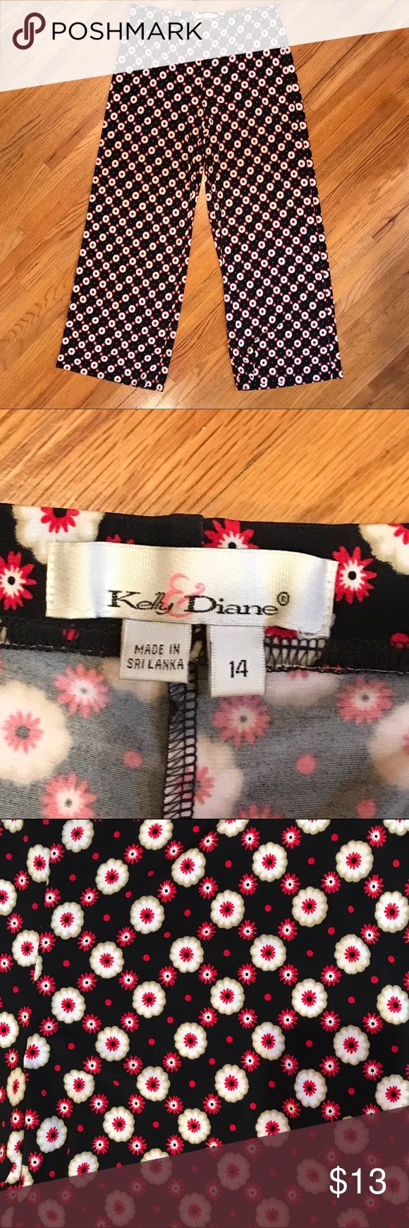 Kelly & Diane Wide Leg Palazzo Pants - Sz 14 Red& Black wide leg palazzo pants.  Worn once - excellent condition! 95% Polyester, 5% Spandex - Hand washable. Kelly & Diane Pants Wide Leg