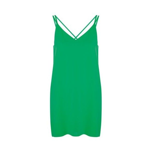 Topshop Petite Cross Back Slip Dress ($37) ❤ liked on Polyvore featuring dresses, bright green, green v neck dress, bright colored dresses, strap dress, green dress and topshop dresses