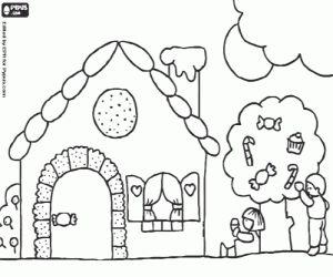 Coloriage Hansel et Gretel et les bonbons