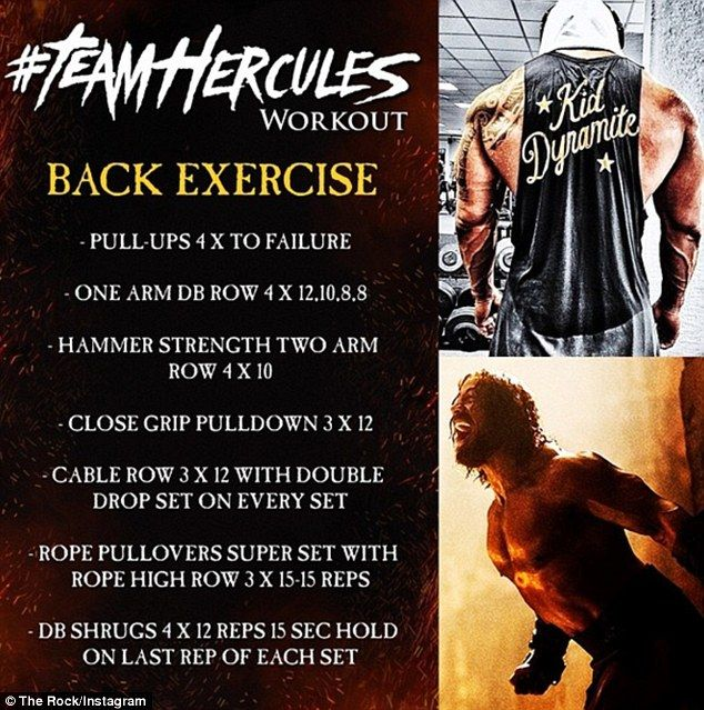 Feel the burn! The Rock began with his back workout, which features an intimidating 25 set...