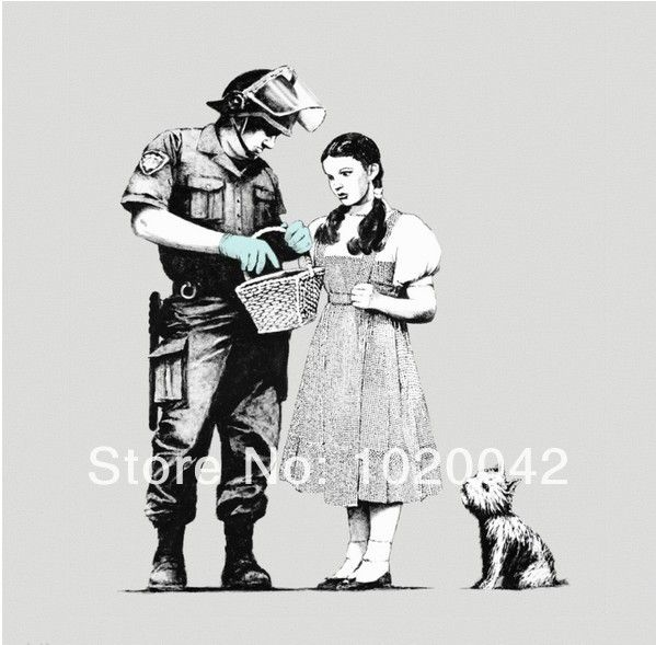 Холст напечатаны бэнкси граффити  дороти, полицейский и тото  уличное искусство декор 24 x 24 дюймов