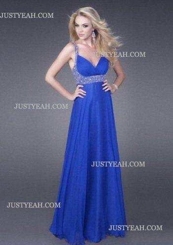 Column Straps Beading Chiffon Blue Evening Dresses