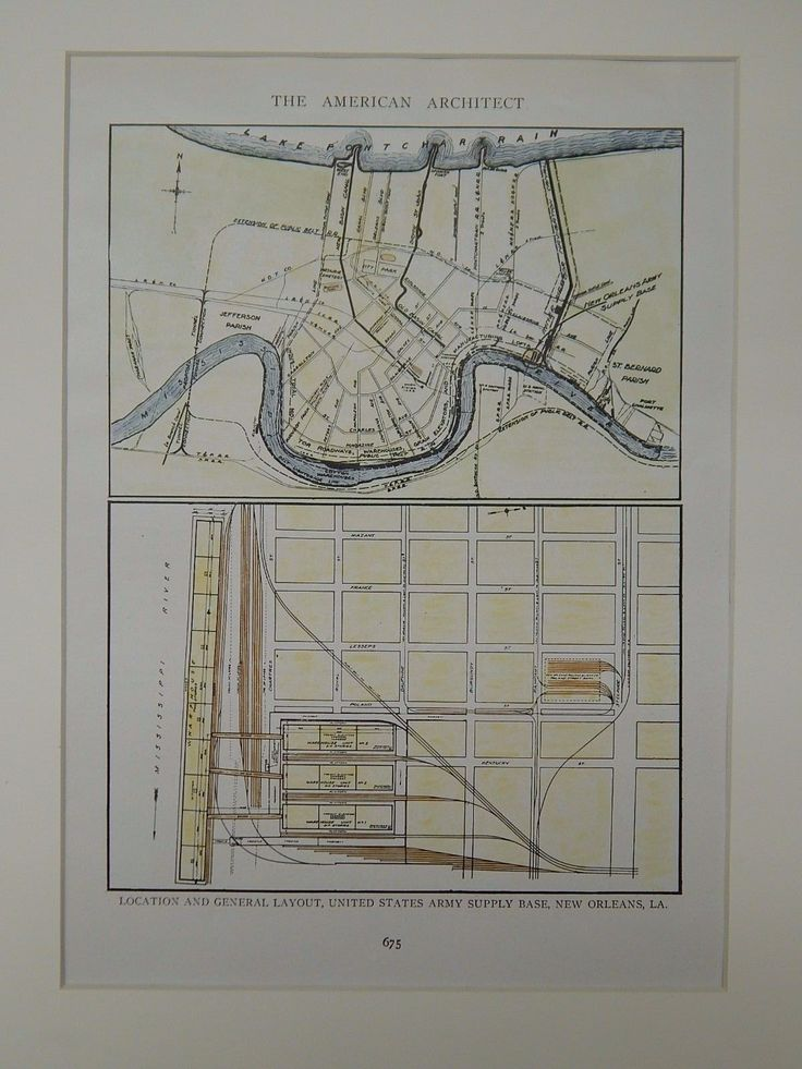 Location and General Layout, Army Supply Base, New Orleans, LA, 1919, Original Plan.