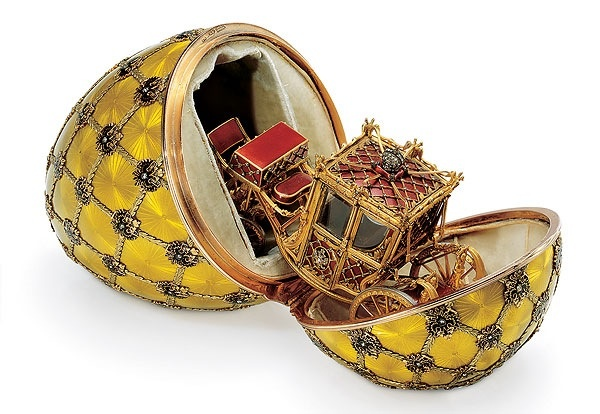The golden coach egg by Karl Faberge, one of 54 eggs in the collection of Romanov Royal family and the most outstanding one. It was created in 1897 to memorize the date of coronation of Nikolay Romanov, The Imperator of Russia named as Nikolay II