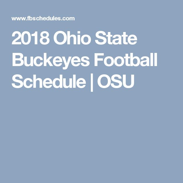 2018 Ohio State Buckeyes Football Schedule | OSU