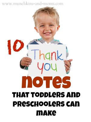10 Thank You Cards from Toddlers and Preschoolers by Munchkins and Moms