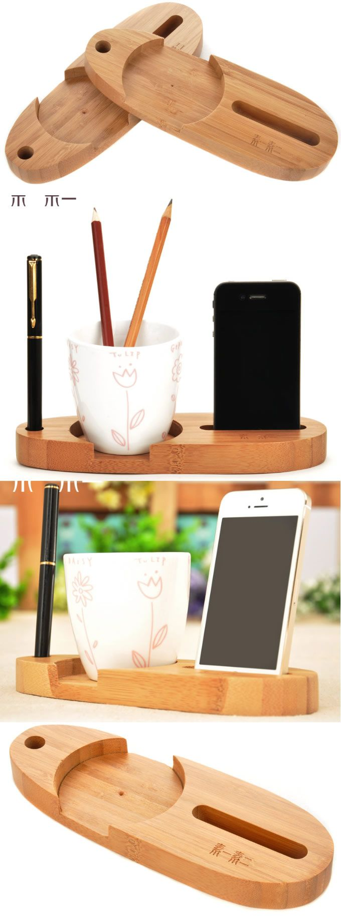 Multipurpose Wooden Office Desk Organizer Cup Slots iPhone Smart Phone Stand Holder Pen Pencils Holder Business Card Stand Holder