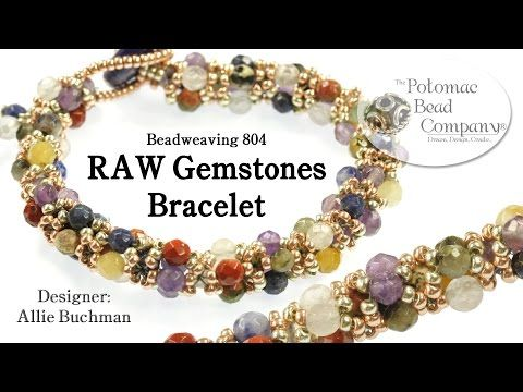 """Make a """" RAW Gemstones """" Bracelet - YouTube, designed by Allie Buchman at The Potomac Bead Company.  Supplies at www.potomacbeads.com"""