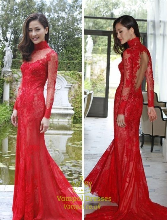 vampal.co.uk Offers High Quality Vintage High Neck Sheer Long Sleeve Backless Lace Sheath Prom Dress ,Priced At Only USD $176.00 (Free Shipping)