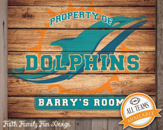 NFL Miami Dolphins Team Sign Printable. Personalized! Man Cave. Teen Room. Office Art. Nursery Decor. Football Gift. Boys Room. Super Bowl.