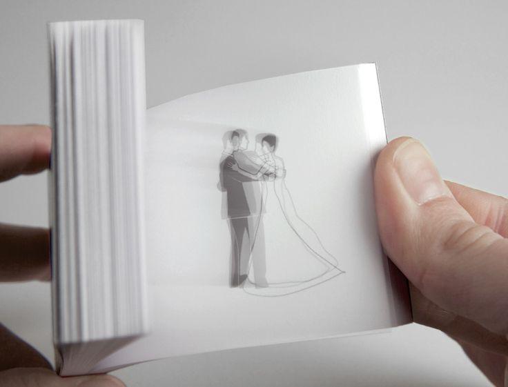 """stofer: Daumenkino  Unter dem Motto """"Das wird ein Fest"""" entstand für Bettina und Martin ein Daumenkino.  Wirbelnd tanzt ein Brautpaar den Hochzeitswalzer. Mit Versand-  umschlägen und passenden Etiketten."""