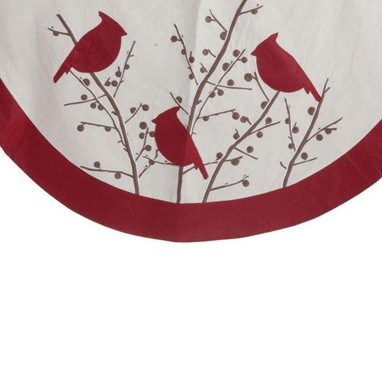Cardinal And Winter Berry Christmas Tree Skirt Shelley B