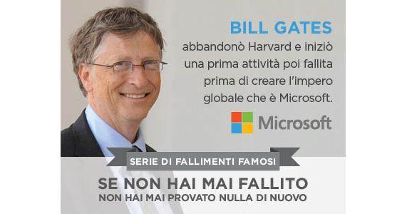 """BILL GATES  abbandonò Harvard e iniziò una prima attività, poi fallita, prima di creare l'impero globale che è Microsoft.  Non cambierai il momento in cui sei nato, dove sei nato, come sei nato o da chi sei nato. In realtà, non cambierai nemmeno un bisbiglio che ha avuto lugo negli """"ieri"""" della tua vita. Il """"domani"""" è un'altra questione.  Indipendentemente dal passato, il tuo domani è una tabula rasa.  ACCETTA LA MIA SFIDA  #sfida #viviiltuosogno"""