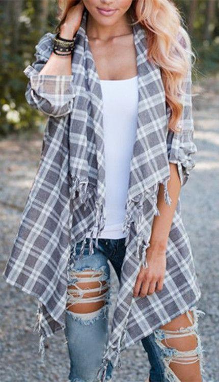 Chic Turn-Down Neck 3/4 Sleeve Asymmetrical Plaid Women's Cardigan