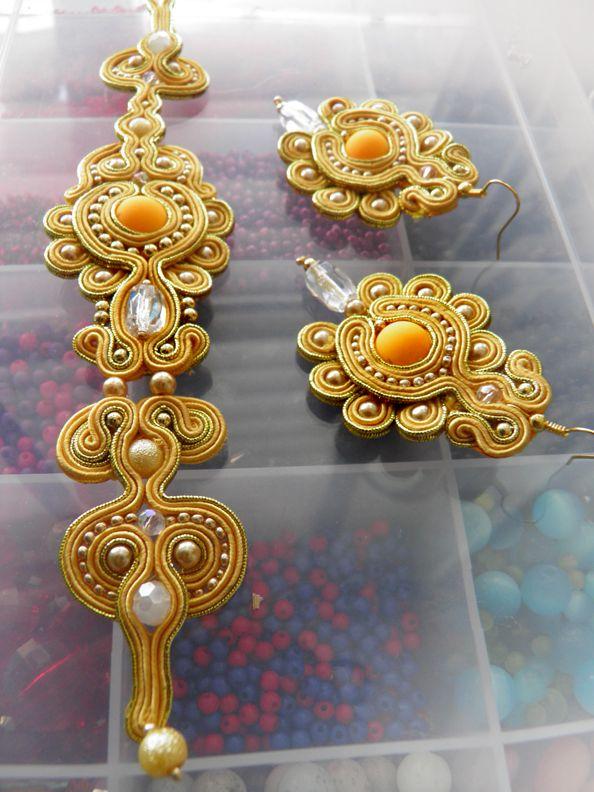 Soutache set of earrings and necklace by caricatalia.deviantart.com on @deviantART