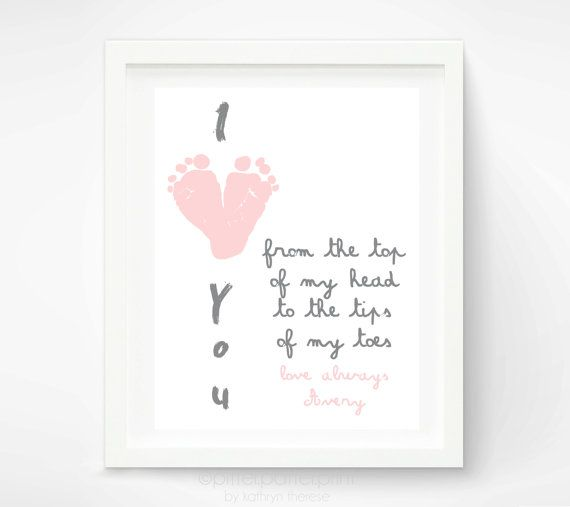 Mothers Day Gift for Grandma - I Love You Baby Footprint Art - Personalized Gift for New Mom, Mother, Grandmother - Baby Print via Etsy