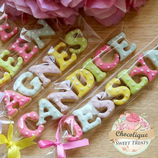 Mini letters cookies. Very cute party favor or place setting idea!