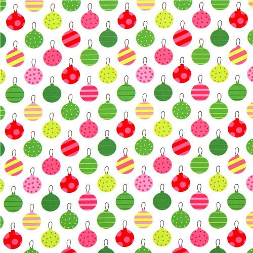 white Robert Kaufman Christmas fabric Christmas tree ball