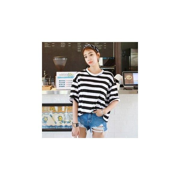 Round-Neck Elbow-Sleeve Striped T-Shirt (€29) ❤ liked on Polyvore featuring tops, t-shirts, shirts, women, elbow sleeve t shirt, cotton t shirts, cotton shirts, stripe shirt and half sleeve shirts