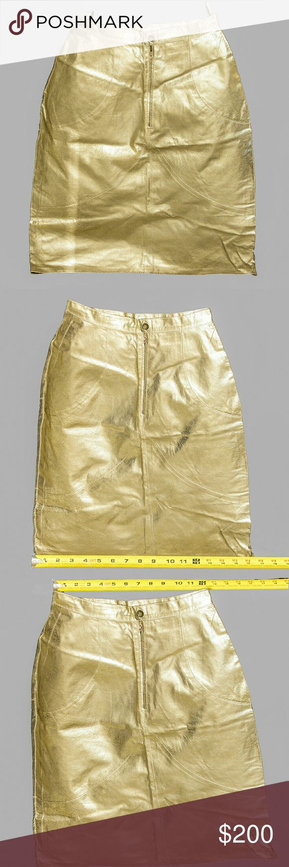 """Robert Cavalli Metallic Gold Pencil Skirt Gently used Vintage Roberto Cavalli Metallic Gold Straight Pencil   100% Genuine Italian Leather Since this is a vintage piece I have added pictures with the actual measurements of the skirt to avoid any confusion bu just saying that is """"small"""" size  This is a Very hard to find Piece. Skirt looks amazing, and Pictures don't make justice for what it looks like in real life. Roberto Cavalli Skirts Pencil"""