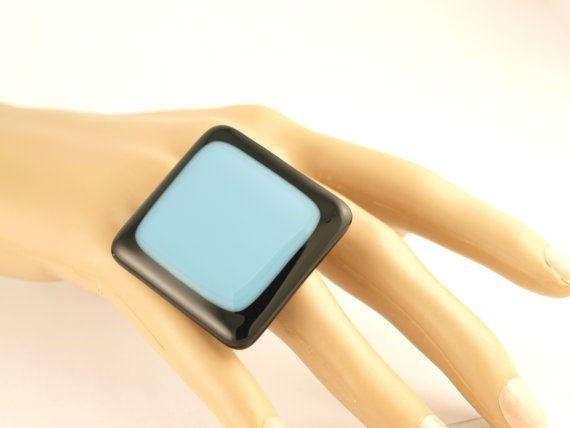 Blue on Black Glass Statement / Statement Ring by SylviaTevlinDesigns