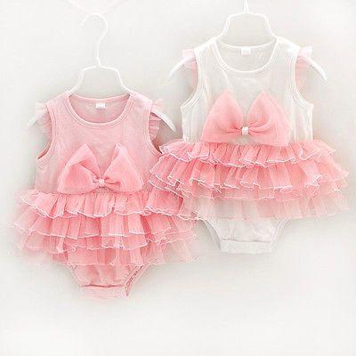 Recién nacido bebé niña Bowknot Tutu Pañalero Body Vestido De Fiesta Disfraz Ropa