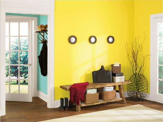 29 best images about yellow accent wall on pinterest for Neon yellow wall paint