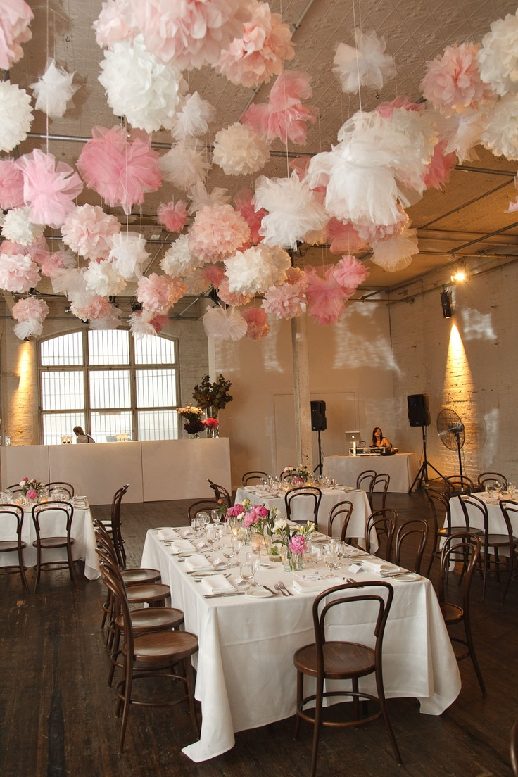 410 best images about party and tablescapes on pinterest for Hanging pom poms from ceiling