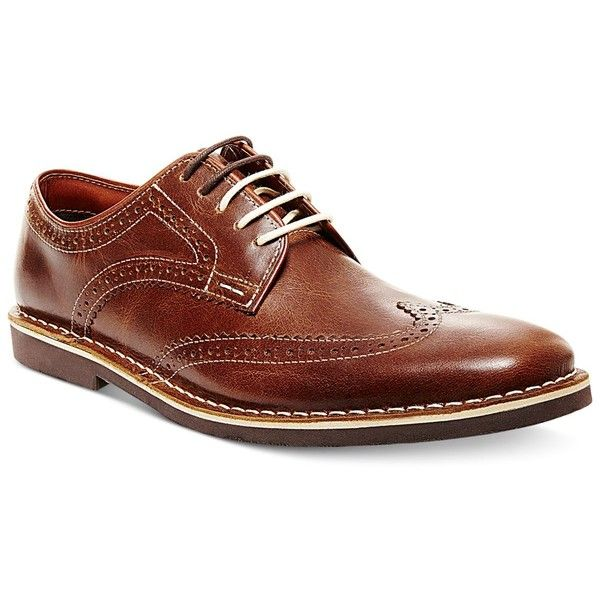 Steve Madden Men's Lookus Wingtip Oxfords ($30) ❤ liked on Polyvore featuring men's fashion, men's shoes, men's oxfords, cognac, steve madden mens shoes, mens cognac dress shoes, mens wingtip shoes, mens wing tip shoes and mens leather shoes
