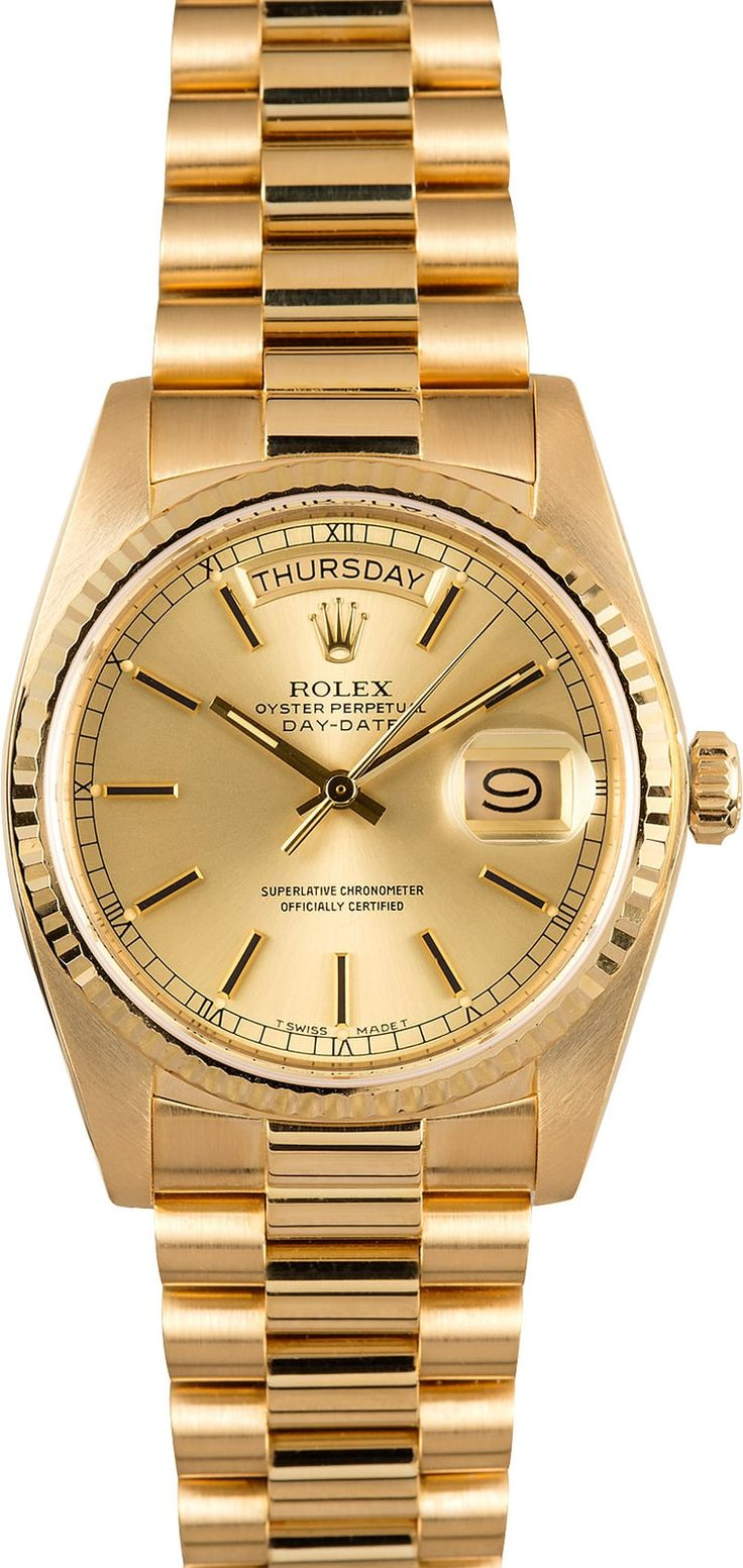Manufacturer: Rolex Model Name/Number: President 18038 Serial/Year: 8,1XX,XXX - 1983/1984 Grade: (What's This?) II Gender: Men's Features: Automatic 3055 movement w/ day-date, Quickset date, scratch-resistant sapphire crystal Case: 18k yellow gold w/ fluted bezel (36mm) Dial: Champagne w/ black chapter ring Bracelet: 18k yellow gold Presidential w/ hidden clasp Box & Papers: Original Rolex box, booklet, pouch, and papers Comments: This Rolex